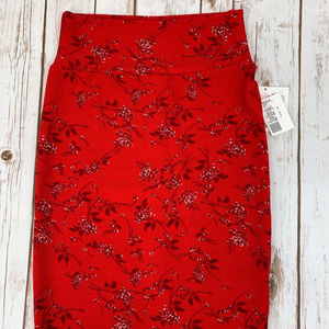 Lularoe Cassie XS Red Pencil Skirt NWT